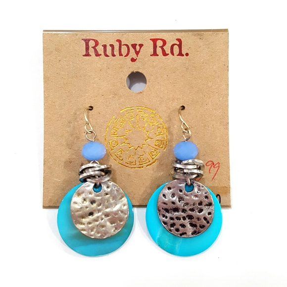 Ruby Rd. Jewelry - NWT Ruby Rd. Turquoise Shell Dangle Earrings